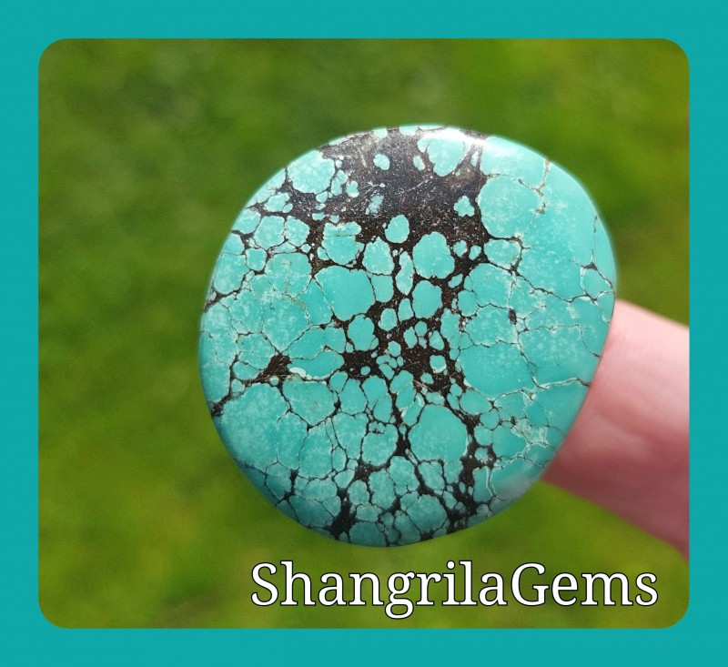 33mm Tibetan Turquoise round free form CABOCHON 67ct