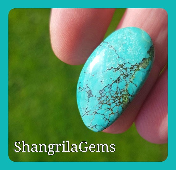 27mm Tibetan Turquoise CABOCHON Spiders web free form  15.5ct