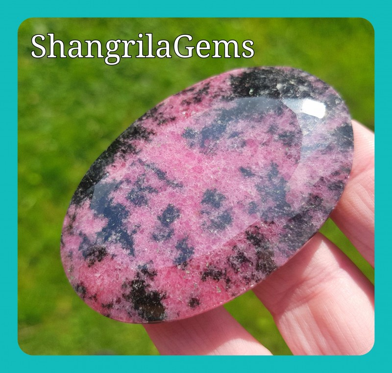 66mm Rhodonite cabochon pink faceted AAA 168ct