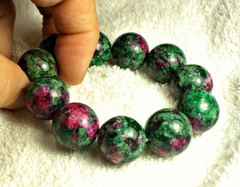 Natural China Zoisite / Ruby Bracelet - Gorgeous
