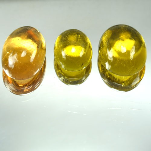 9.91 Cts Natural Canary Yellow Tourmaline Cabochon 3 Pcs Mozambique