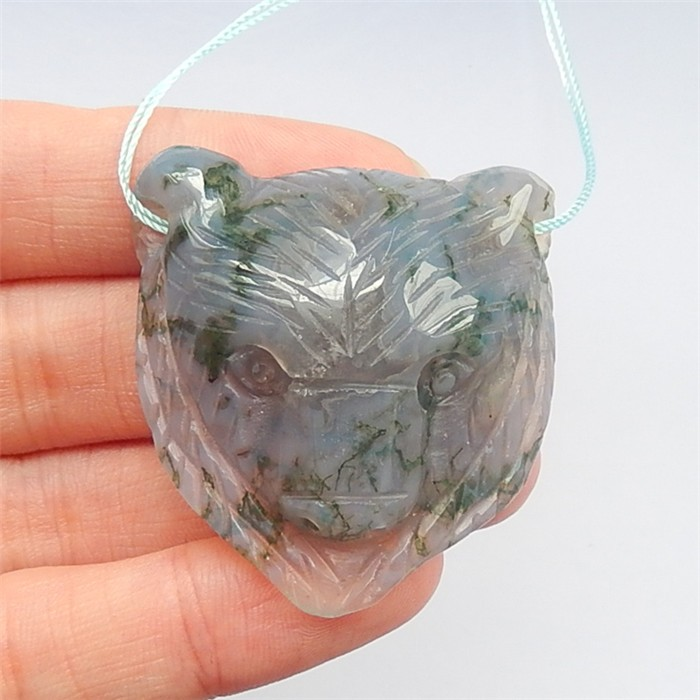 108.5ct New Design Moss Agate Craved Bear Pendant(18042210)