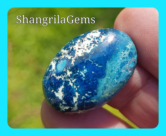 27mm Shattuckite Chrysocolla Azurite cabochon AAA 25ct 27 by 17 by 5mm