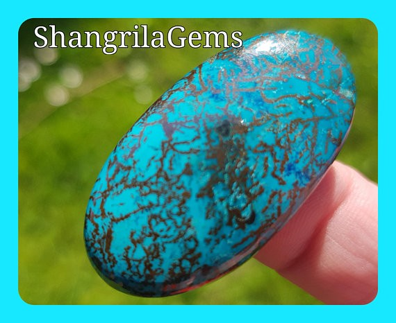 38mm Chrysocolla oval cabochon with Azurite Hematite & cuprite 53ct 38