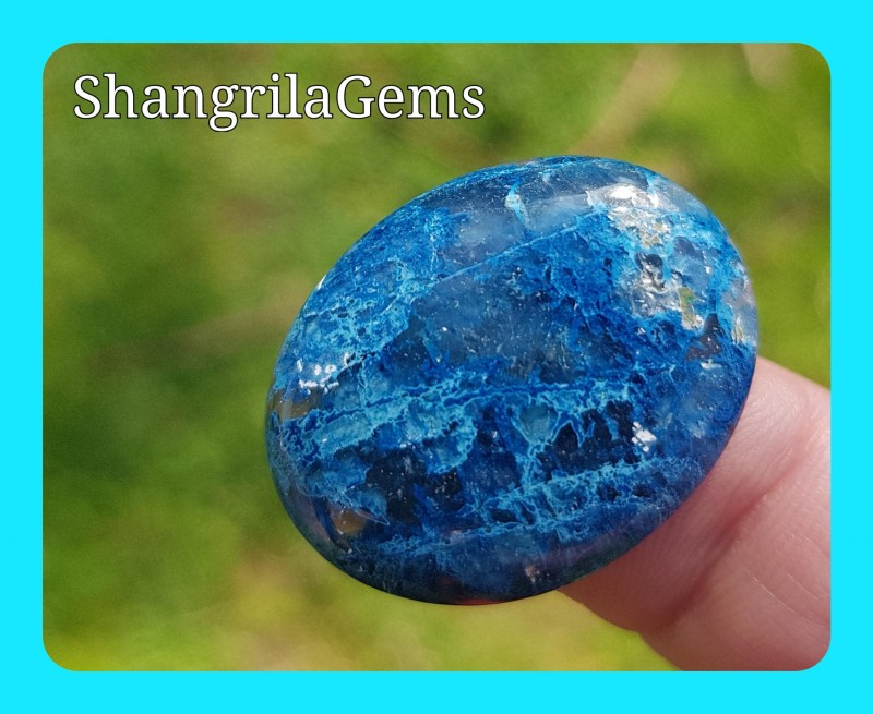26mm Lightning Azurite cabochon Azurite in Quartz 23ct 26 by 21 by 5mm