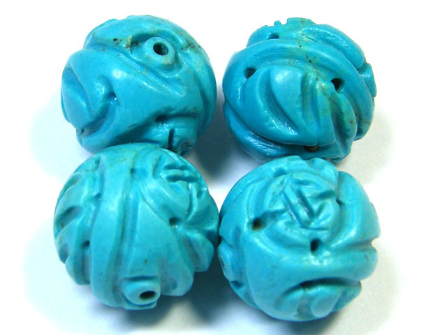 PARCEL TORQUOISE HAND CARVED BEADS 88.05 CTS SGS 86