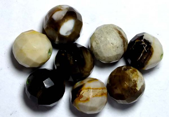 PETRIFIED WOOD BEADS, (8PC) 64.25CTS NP-1014