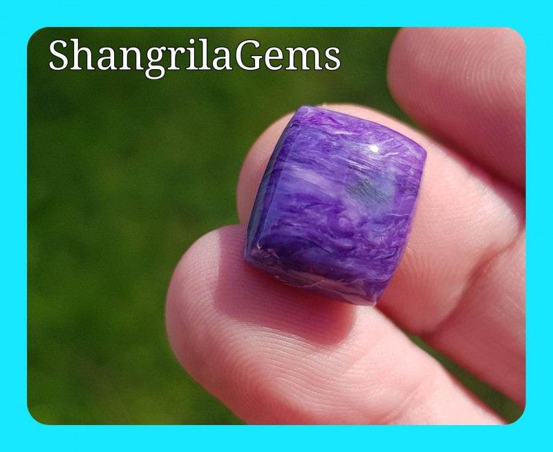 14.5mm Charoite cushion shape cabochon 11.5ct AAA 14.5 by 12.5 by 6.5mm