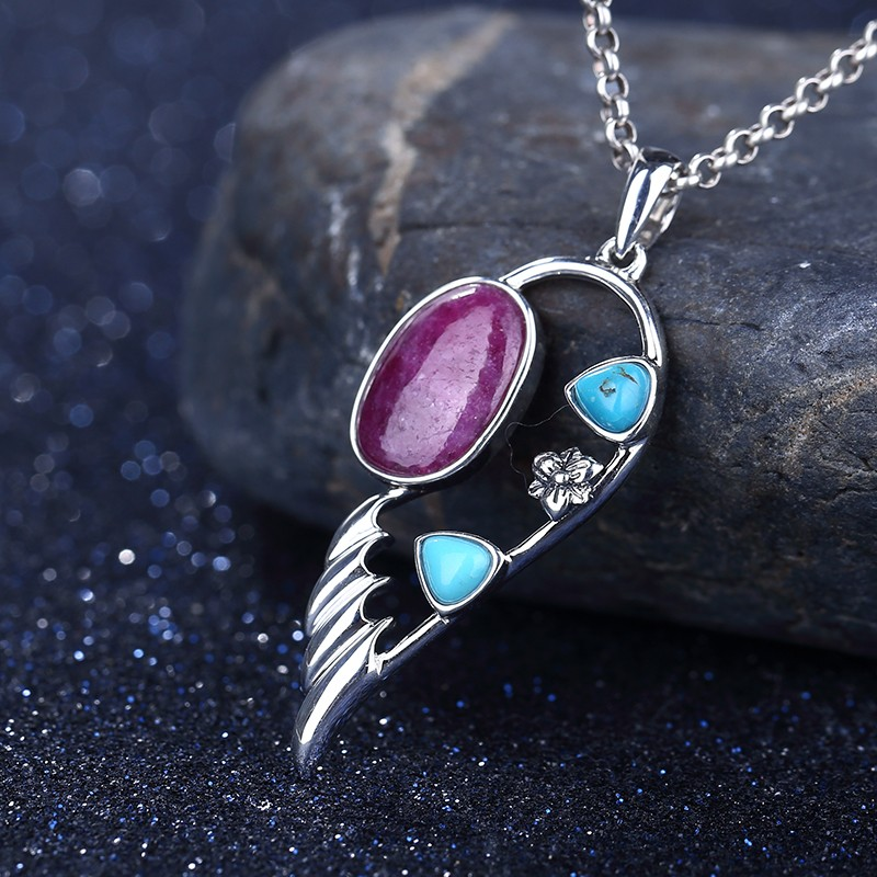 New Design AAA Ruby And Natural Stone Turquoise Feather Shape 925 Sterling