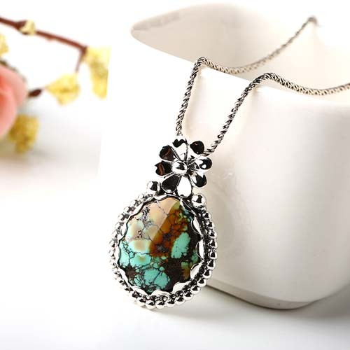 25.7ct New Design Natural Turquoise 925 Sterling Silver Fashion Pendant