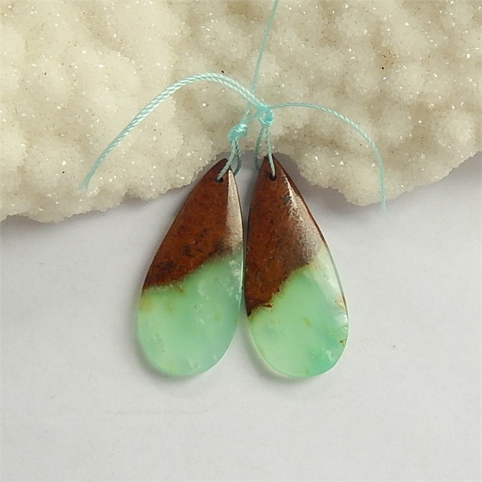 36ct Natural Water drop Chrysoprase Earring Pair(18042402)