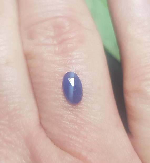 7 by 4mm Blue Sapphire rose cut oval gemstone