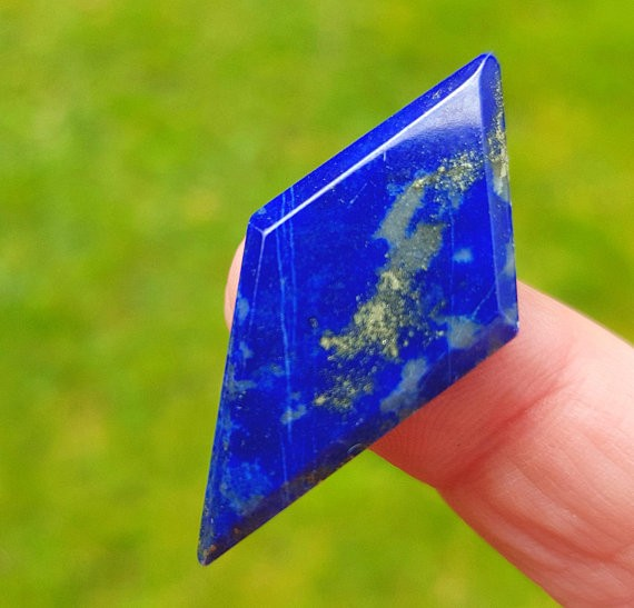 38mm Lapis Lazuli blue free form kite irregular faceted cabochon 38 by 18 b