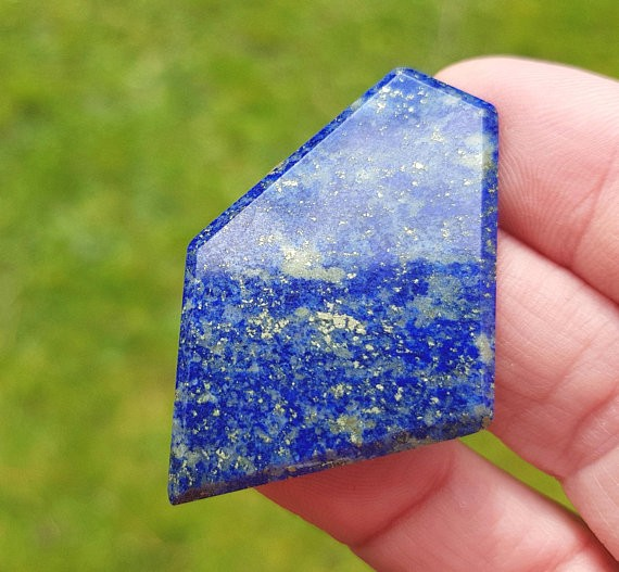 45mm Lapis Lazuli blue free form pentagon irregular faceted cabochon 45 by