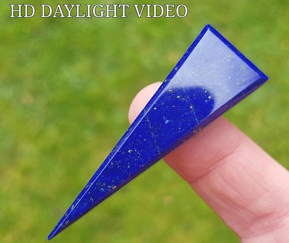 55mm Lapis Lazuli blue arrrow shape cabochon 55 by 18 by 7mm AAA Grade