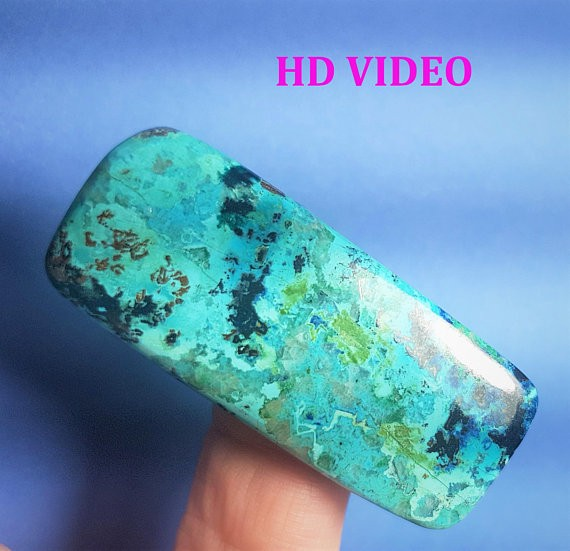 52mm chrysocolla azurite malachite cabochon cushion oblong cut 52 by 22 by