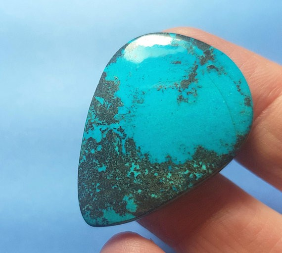 33mm chrysocolla cabochon drop pear shape with hematite turquoise and silve