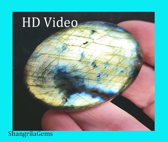 46mm gold labadorite cabochon oval cabochon 112ct 46 by 35 by 7mm