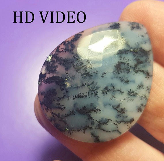 Dendritic Agate heart shape 36mm gemstone faceted checker cut 37ct 36 by 29