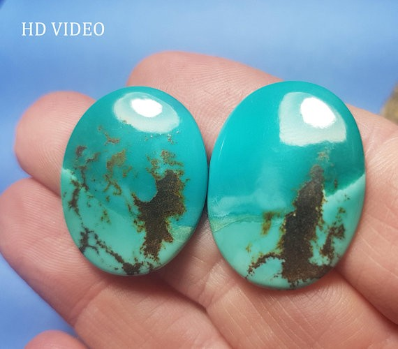 26mm Tibetan Turquoise cabochon pair picture stones 26 by 21.5 by 4mm 30ct
