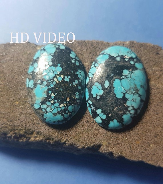 26mm Tibetan Turquoise cabochon pair Spiders web 26 by 18 by 4.5mm 30ct
