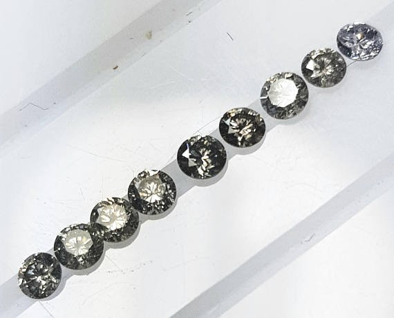 9 1.8mm Salt and Pepper diamonds AA Grade 0.25ct