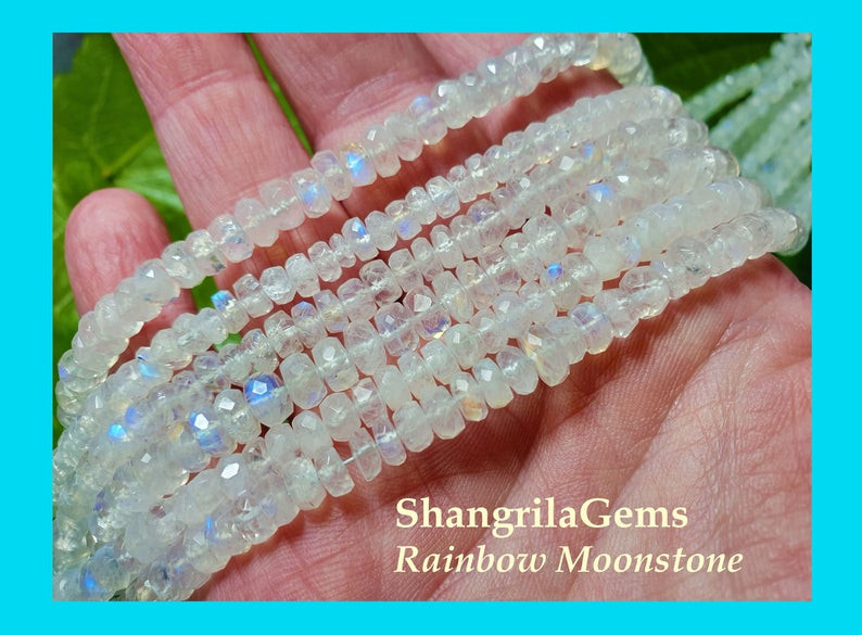 14 inch line 4mm to 5mm White Rainbow Moonstone faceted beads roundelles