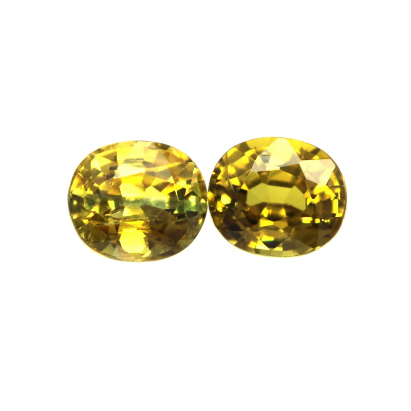 0.71cts  Matching Pair Natural Honey Gold Sapphires Oval Shape 2pcs