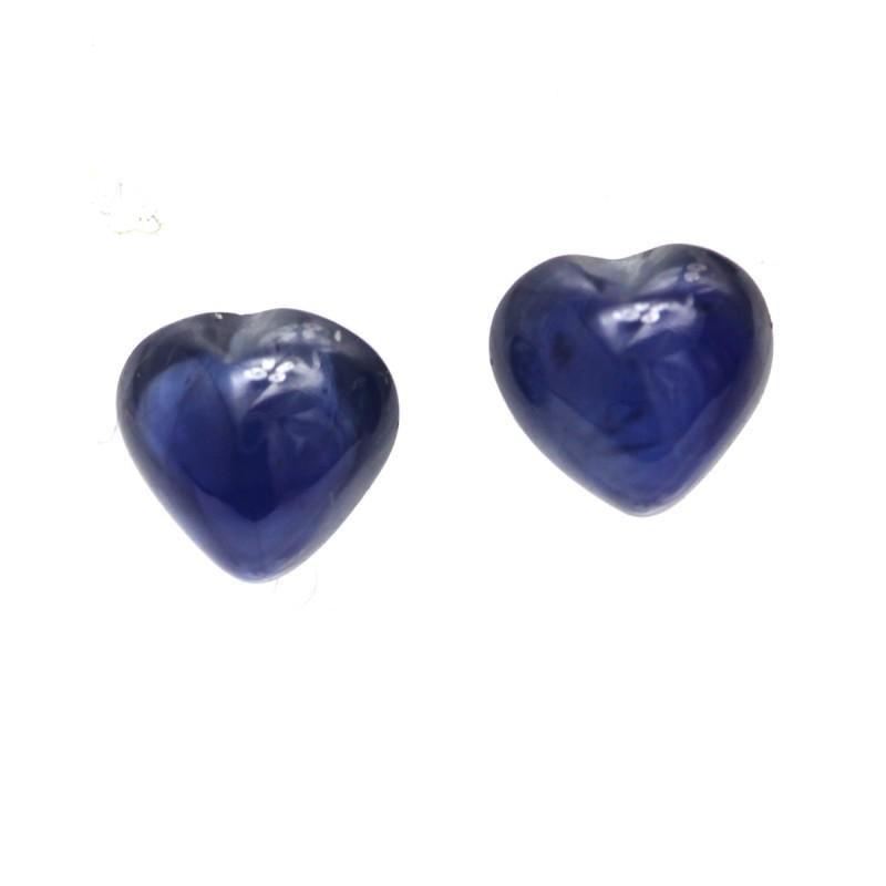 0.72cts  Matching Pair Natural Blue Sapphires Heart Cabochons 2pcs