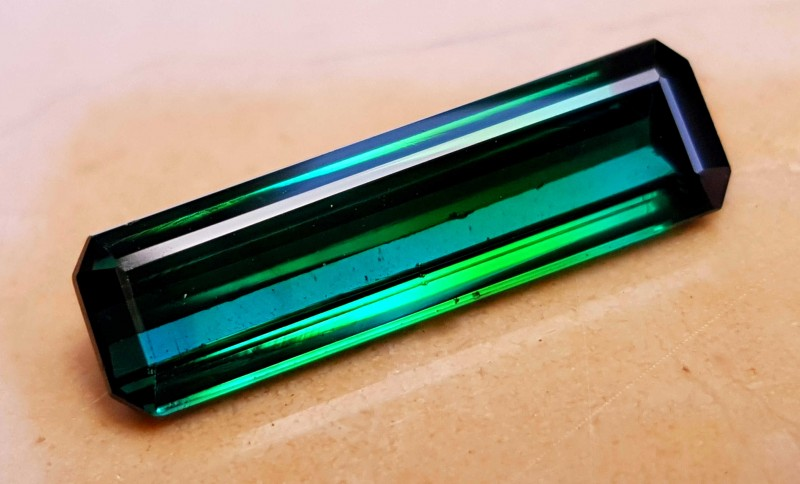6.80 Cts Tourmaline Bi Color Blueish Green Flawless Gemstone Amazing luster