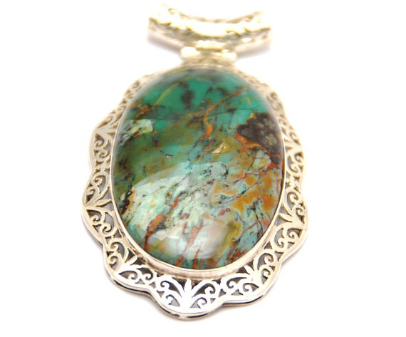 """SALE 3"""" VARICITE PENDANT set in exquisite hand crafted silver"""