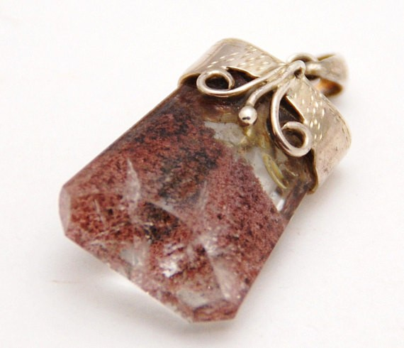 PHANOTOM or LODOLITE QUARTZ sterling silver gemstone pendant necklace 85cts