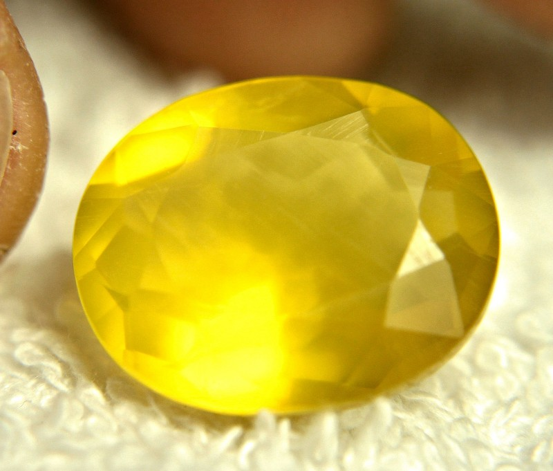 CERTIFIED - 15.61 Carat Vibrant Yellow Mexican Fire Opal - Gorgeous
