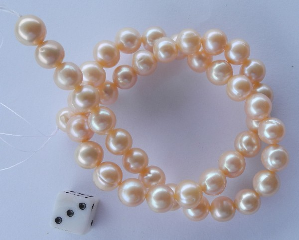 AA+++ QUALITY HIGH LUSTRE PINK ROUND 9-9.50MM FRESHWATER PEARL STRAND!!