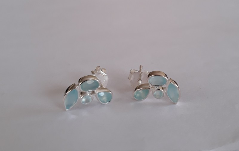 Chalcedony 925 Sterling silver earrings #33401