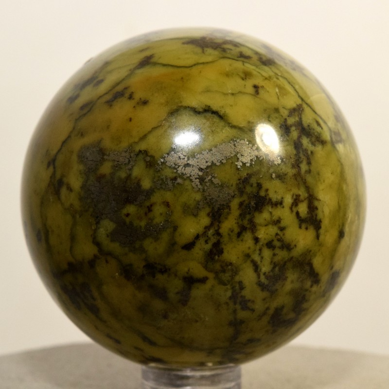 54mm Yellow Green Serpentine w/ Pyrite Crystal Mineral Ball Peru STSE-PA145