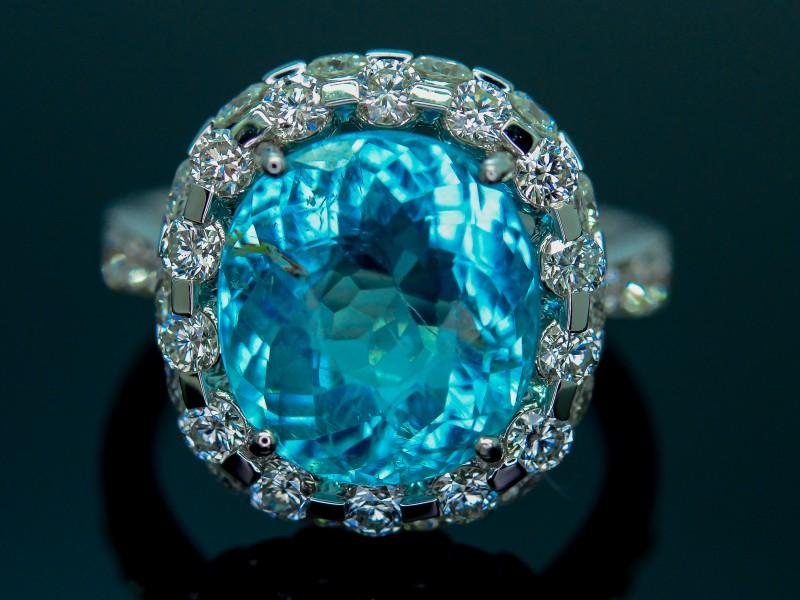 GRS Certified 6.58 gm Cuprian Elbaite Paraiba Tourmaline Diamond Gold Ring
