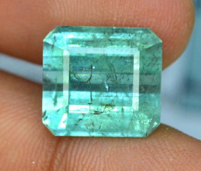 Certified  8.265 cts Beautifull Bluish Green  rectangular shape cut Afghan