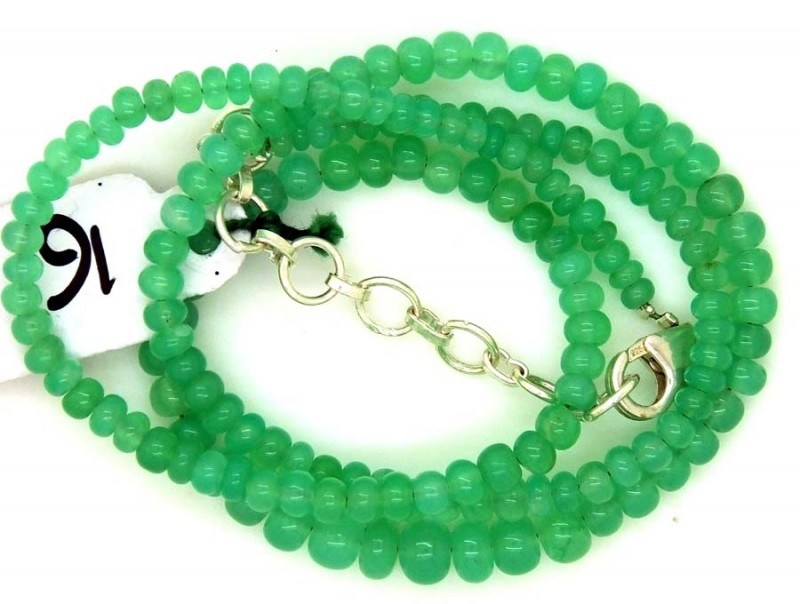 55.0CTS CHRYSOPRASE BEADS STRAND NP-2387