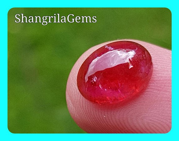 11.1mm Rubellite tourmaline cabochon pink red 11.1 by 9.1 by 4.8mm 4ct