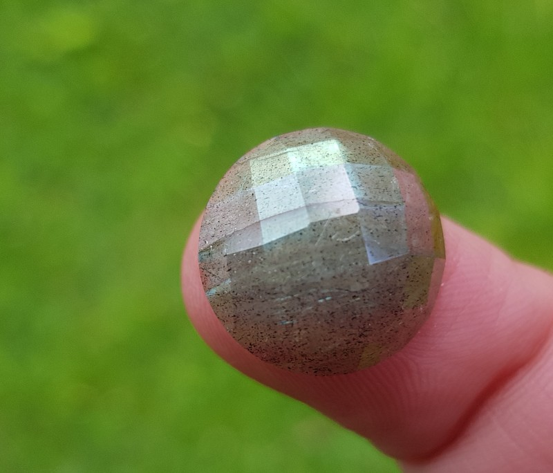 15mm Labradorite round Checker cut faceted cabochon  10ct 15mm by 7mm