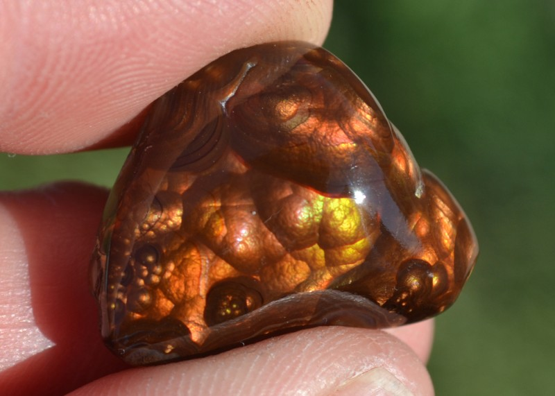 34.50 Carat Very Nice Mexican Fire Agate Cabochon