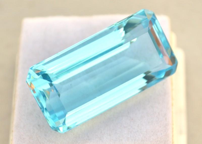 47.68 Carat Very Fine Long Octagon Cut Intense Sky Blue Topaz