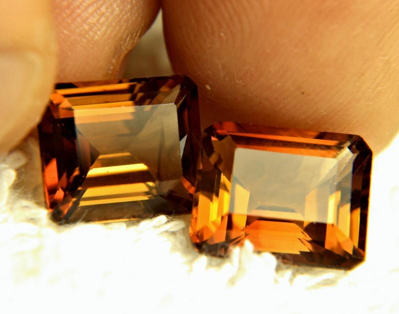 14.51 Brazilian VVS Golden Topaz Pair - Gorgeous