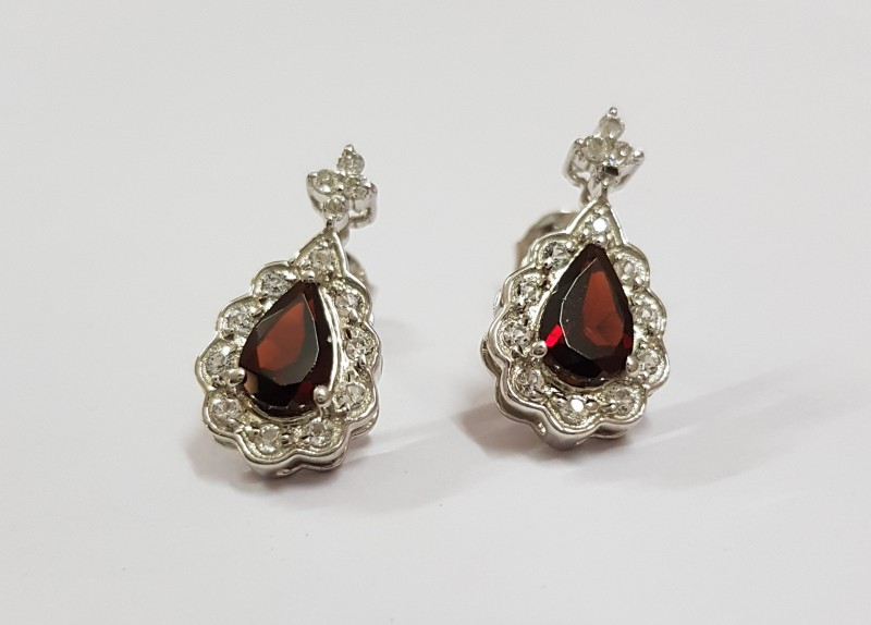 Garnet 925 Sterling silver earrings #7797