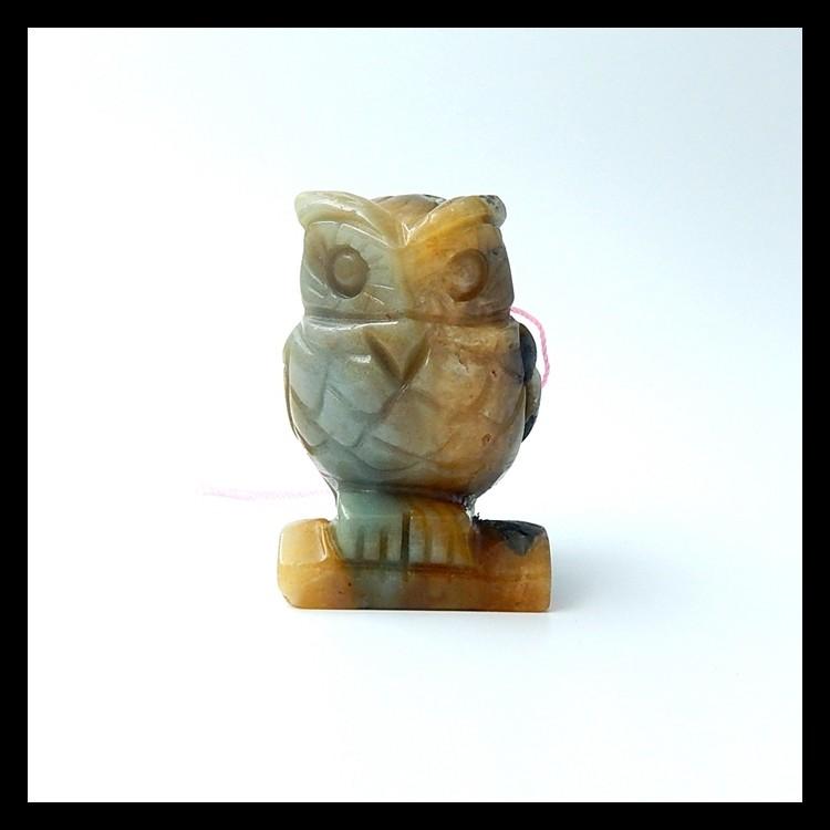 348.5ct  New design Carved Owl Amazonite Pendant(18051606)