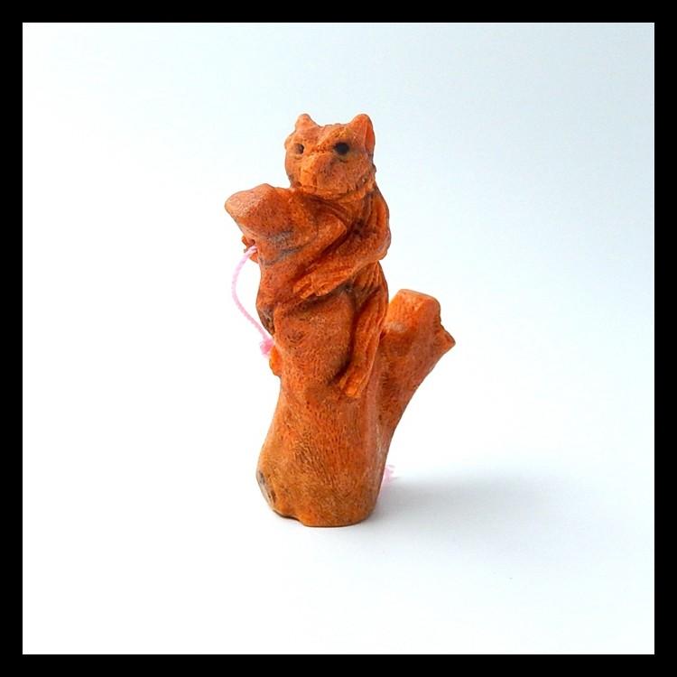 123ct Natural Orange Coral Carved squirrel Pendant(18051607)