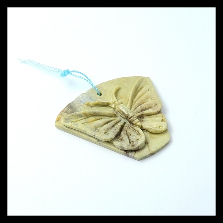 47.75ct Natural Jasper Carved Butterfly  Pendant(18051613)