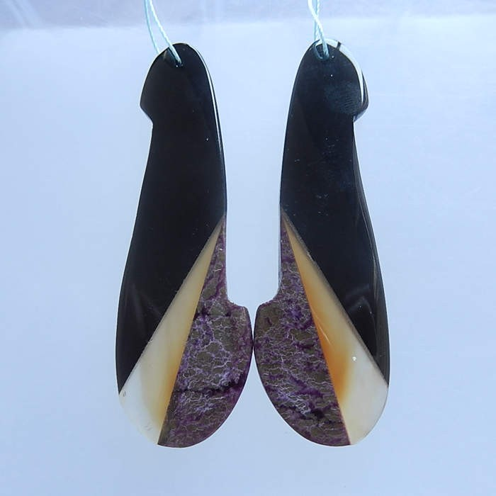 16.6gNatural Obsidian, Red Agate and African Purple Jasper Earring Pair(180