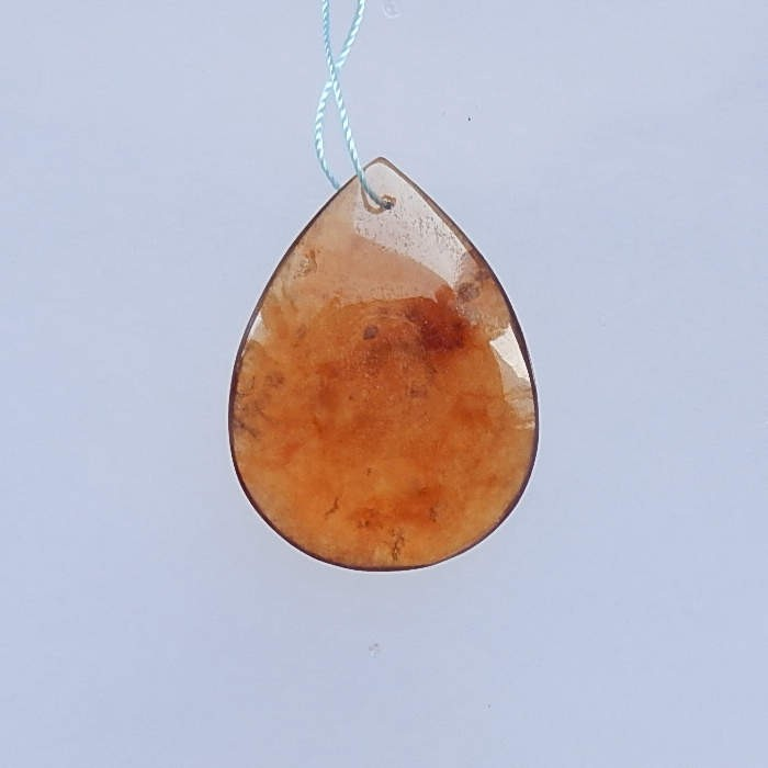 36.5ct Art of Work Natural Waterdrop Red Agate Drilled Pendant Bead 32x21x1